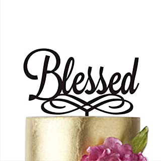 HappyPlywood Blessed Cake Topper Baby Baptism Acrylic Cake Toppers, Gold, Silver, Black, White, Mirror, Blessed, Communion Christening (Gold, 5 in)
