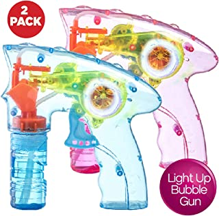 Prextex Pack of 2 Wind up Bubble Gun Shooter LED Light up Bubble Blower Indoor and Outdoor Toys for Puppy's Kid's Boys and Girls no Batteries Needed