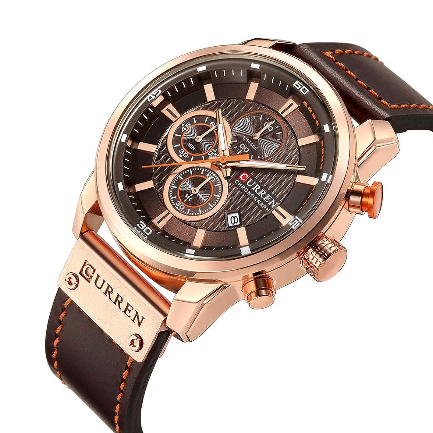 Men Casual Chronograoh Sport Watches Business Dress Leather Quartz Wristwatch with Calendar