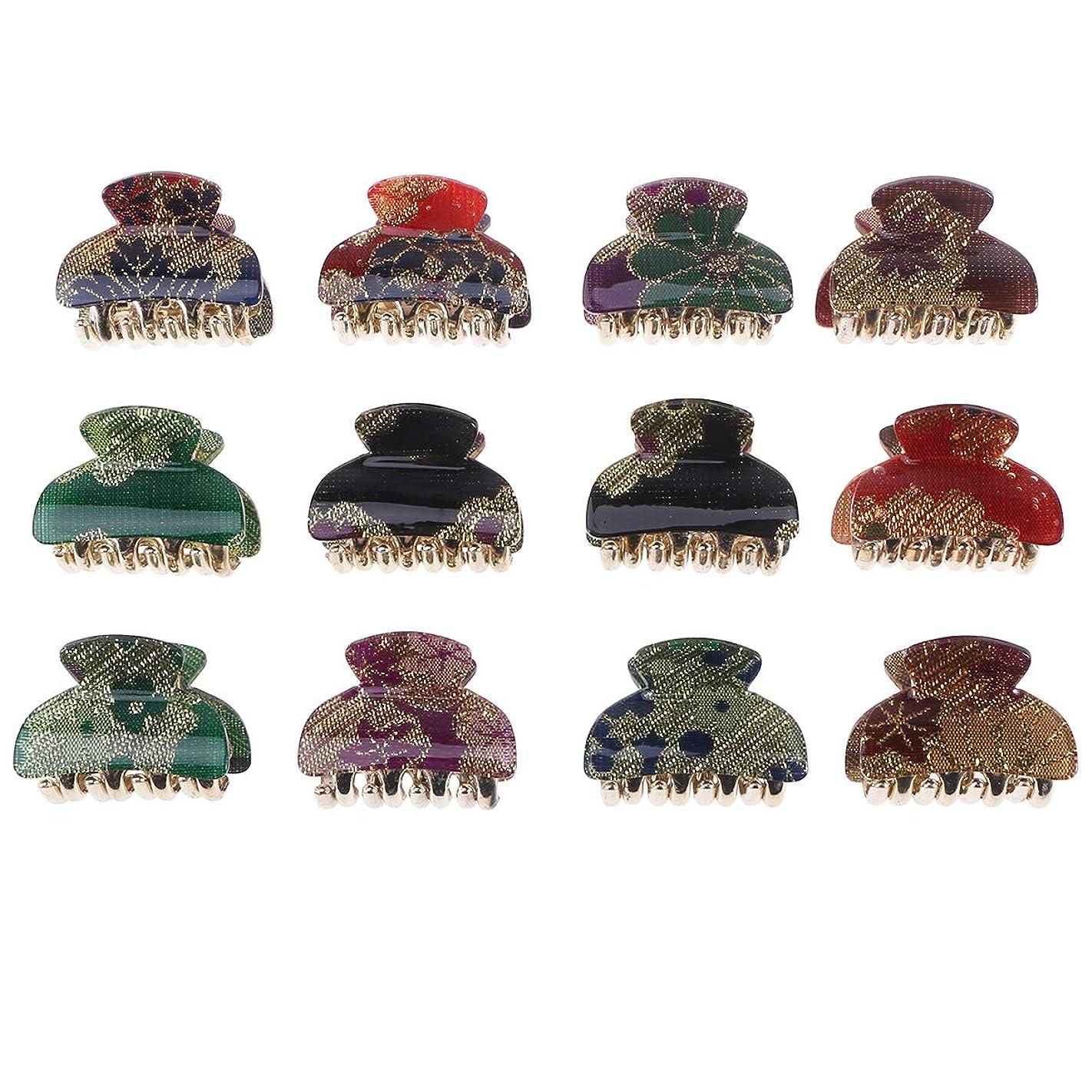 無駄な促す物語LURROSE 12本の小さな髪の爪アクリルゴールデンラインクリップミニ髪の爪の女性の女性のためのヘアクランプ
