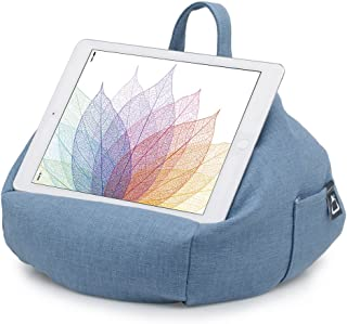 iPad Pillow & Tablet Stand - Securely Holds Any Size Tablet, eReader or Book Upto 12.9 inches, Hands Free Comfort at Any Angle on Any Surface - Blue Denim, by iBeani