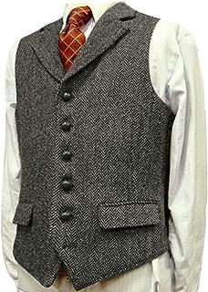 Jiaoyunshi Men's Suit Vest Wool Blend Notched Lapel Herringbone Tweed Mens Waistcoat Vest
