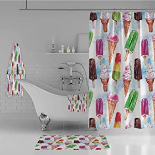 iPrint Bathroom 4 Piece Set Shower Curtain Floor mat Bath Towel 3D Print,Type of Ice Cream Motif with Raspberry Kiwi Flavor,Fashion Personality Customization adds Color to Your Bathroom.