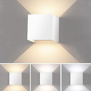 Lámpara de Pared Interior LED Aplique Pared Moderna Regulable Lampara Pared con Luz Tricolor Aplique cuadrado Pared Blanco IP65 Impermeable