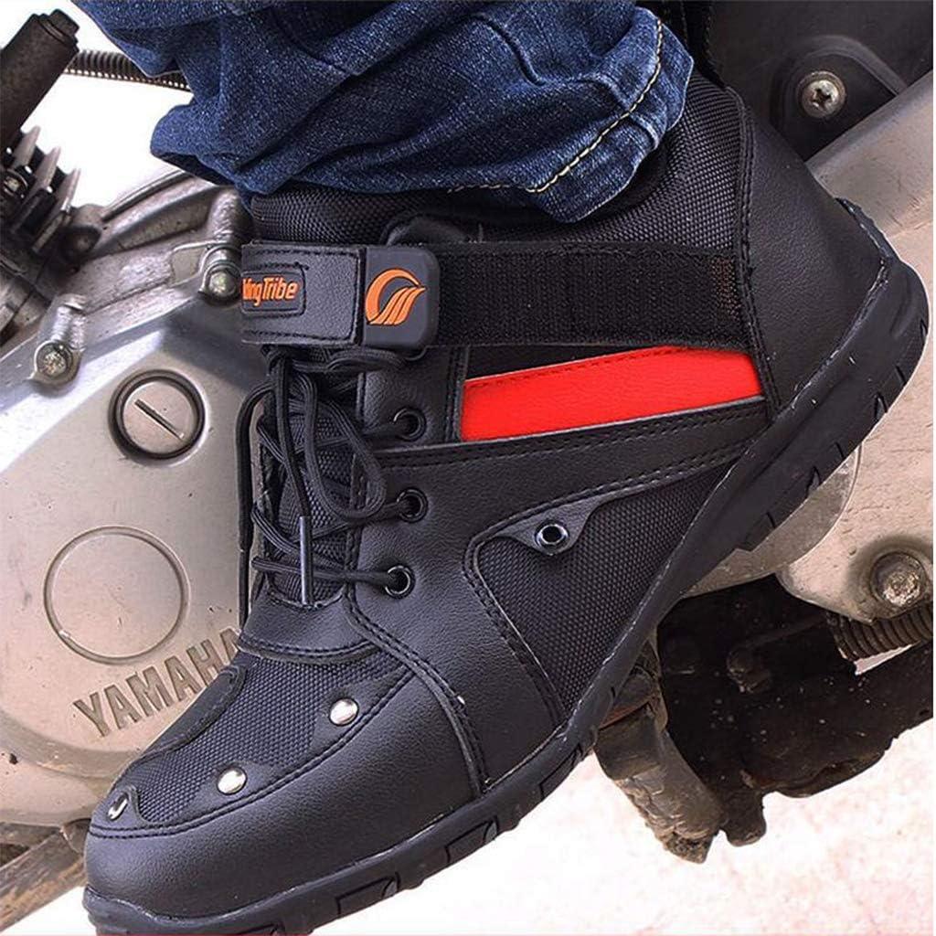 Preis-Leistung Zapatillas de Montar en Moto para Hombre de Verano Transpirable Antideslizante Anti-ca/ída Knight Moto Zapatos Botas de Carreras,Red-EU38