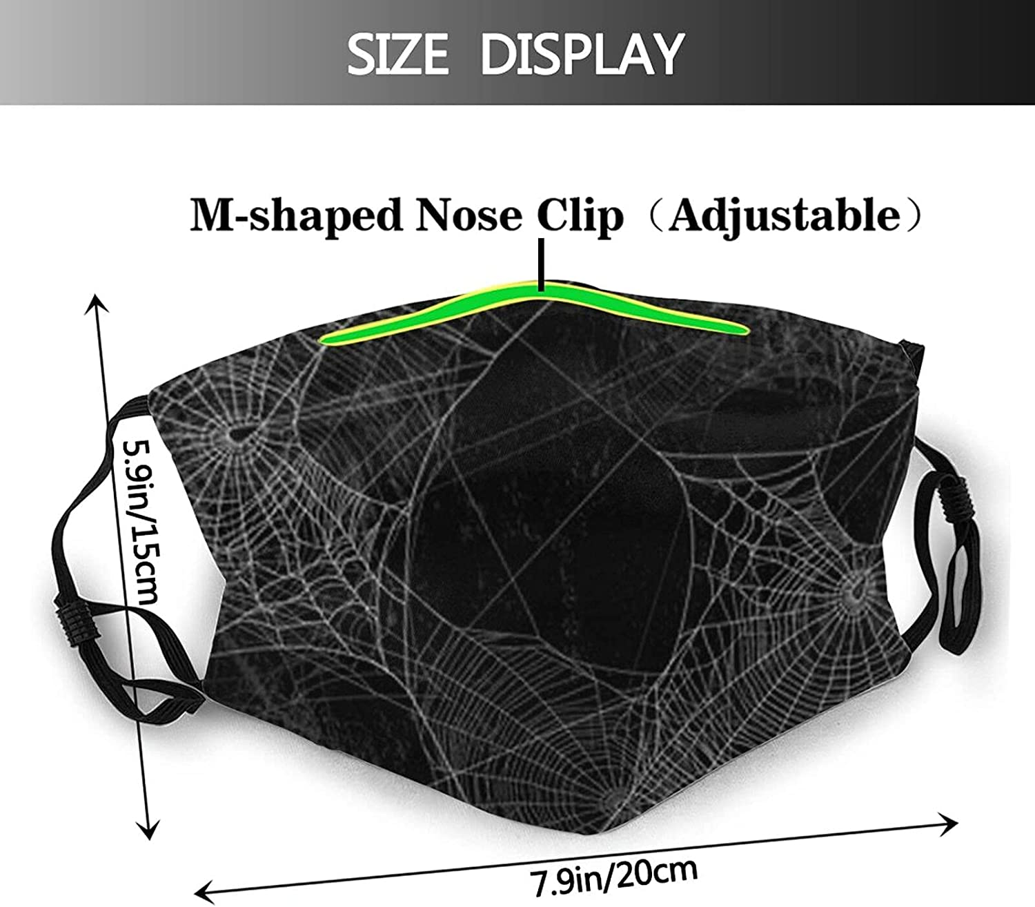 Halloween Face Mask Unisex Cute Pumpkin Balaclava Reusable Windproof Dustproof Witch Funny Scarf Adjustable with 2 Filter
