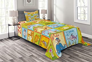 Ambesonne Educational Bedspread, Zoo Alphabet Design Colorful Style Funny Cartoon Animals Children Kids School, Decorative Quilted 2 Piece Coverlet Set with Pillow Sham, Twin Size, Green Yellow