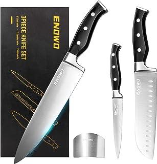 چاقوی آشپزخانه Enowo Chef Knife Ultra Sharp Set 3 PCS ، چاقوی استیل ضد زنگ ممتاز آلمان با محافظ انگشت روکش دار ، دستگیره ارگونومیک و جعبه کادو