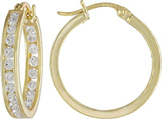 JTV-White Cubic Zirconia 18k Yellow Gold Over Sterling Silver Hoop Earrings 2.20ctw