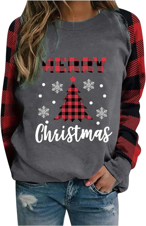 Sweatshirts for Women,Long Sleeve Tops,Christmas Tree Graphic Sweatshirt Christmas Sweaters Cute Tops