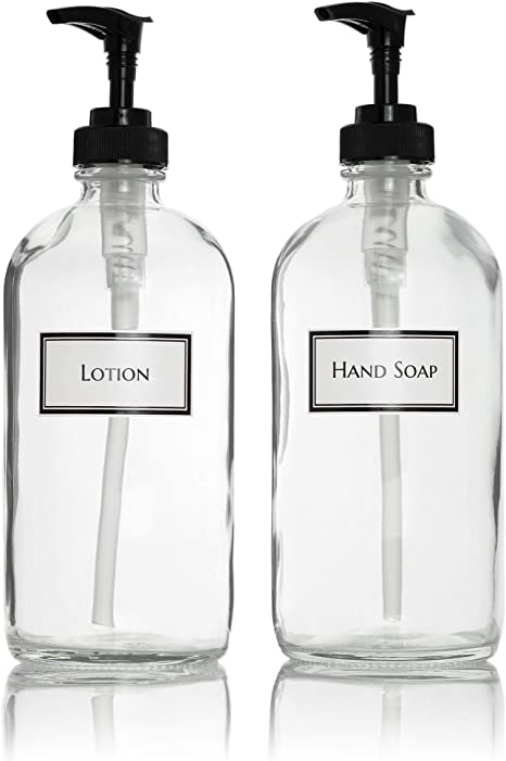Amazon Com Ceramic Printed Glass Hand Soap And Lotion Dispenser Set With Black Pumps 16 Oz Clear Kitchen Dining