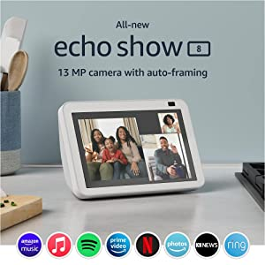All-new Echo Show 8 (2nd Gen, 2021 release) | HD smart display with Alexa and 13 MP camera | Glacier White