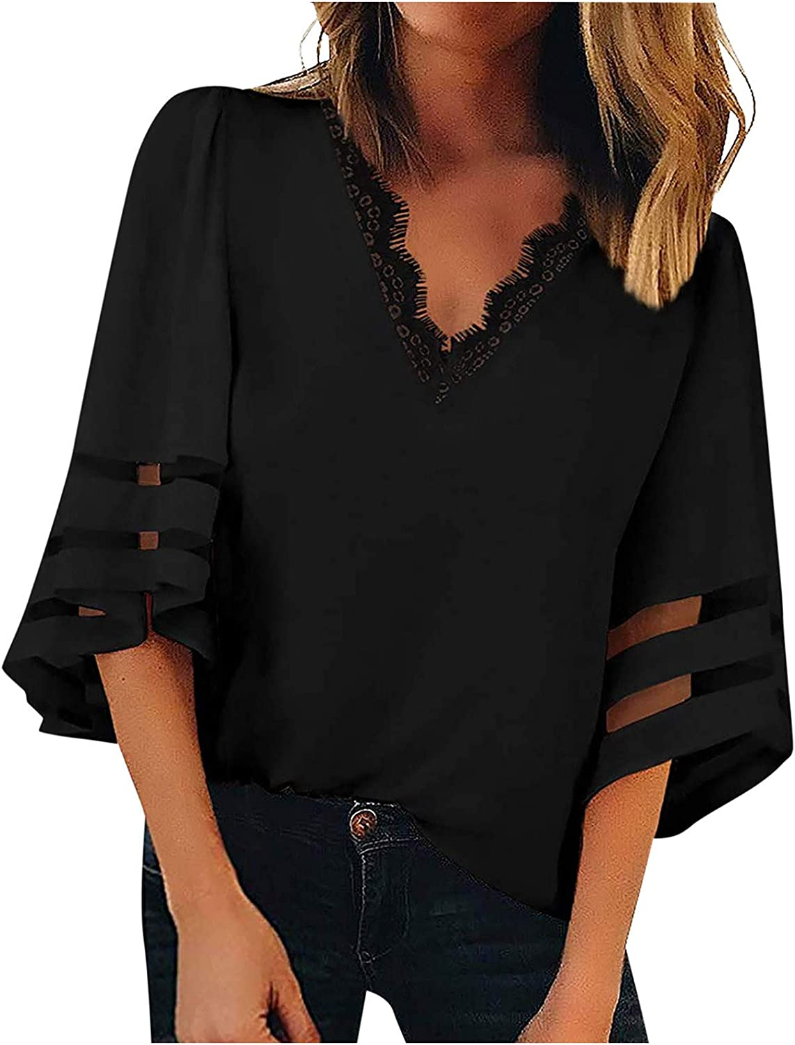 Womens 3/4 Bell Sleeve V Neck Lace Patchwork Blouse Casual Loose Shirt Tops