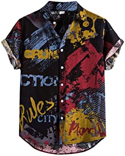 Zrom T Shirt for Men Stylish,Mens Linen Ethnic Short Sleeve Casual Printing Hawaiian Shirt Blouse T shirt