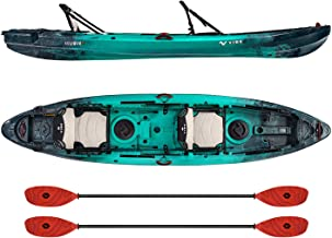 Vibe Kayaks Yellowfin 130T 13 Foot Tandem Angler and Recreational Two Person Sit On Top Fishing Kayak (Caribbean Blue) with 2 Paddles and 2 Hero Comfort Seats - Tsunami Red Evolve Paddles