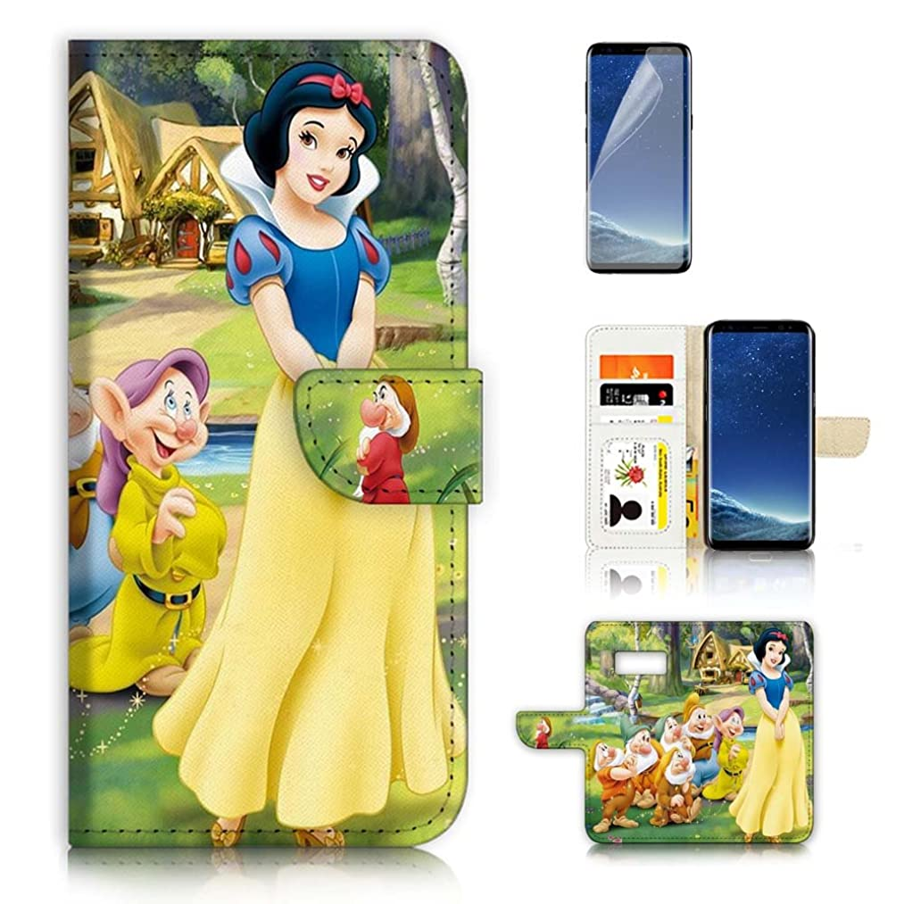 (for Samsung S7, Galaxy S7) Flip Wallet Case Cover & Screen Protector Bundle - A20324 Snow White Dwarf