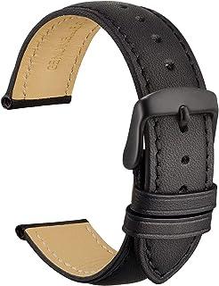 WOCCI Vintage Bracelet de Montre en Cuir avec Boucle Noire, Sangles de Rechange pour Hommes 18mm 19mm 20mm 21mm 22mm 23mm ...