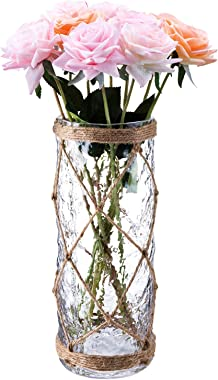 Diamond Star Rustic Glass Vase Decorative Cylinder Vase with Creative Rope Net(Large)