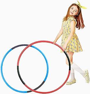 طوق الهولا هوب، طوقان بلاستيكيان بقياس قابل للتعديل للالعاب الرياضية، مناسب للكبار والحيوانات الاليفة، قطعتان، (ازرق، احمر)