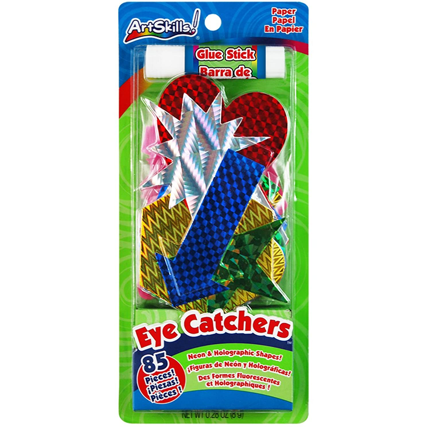 ArtSkills Eye Catchers Poster Shapes, Arts and Crafts Supplies, Neon and Holographic, Assorted Colors, 85 Pieces, Includes 1 Glue Stick (PA-1218)