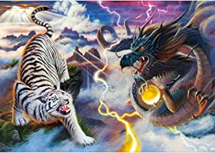 MXJSUA 5D DIY Diamond Painting by Number Kit Round Dril Beads Crystal Rhinestone Embroidery Cross Stitch Picture Supplies Arts Craft Wall Sticker Decor White Tiger and Dragon 12x16In
