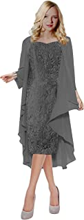 Womens Lace Straps Mother of Bride Dress with Chiffon Shawl T107LF