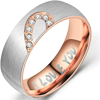 I Love You Rings Heart Promise Engage Rings Set Stainless Steel for His & Hers Real Couple Size 8 11 13
