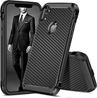 DUEDUE iPhone XR Cases, iPhone XR Phone Case, Dual Layer Carbon Fiber Slim Hybrid Shock Absorbing Cover Hard PC Bumper Rugged Back Case for iPhone XR/6.1