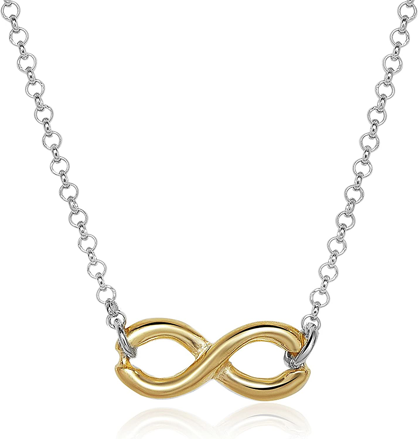 RD Jewels Sterling Silver Infinity Necklace Choose Your Metal Color
