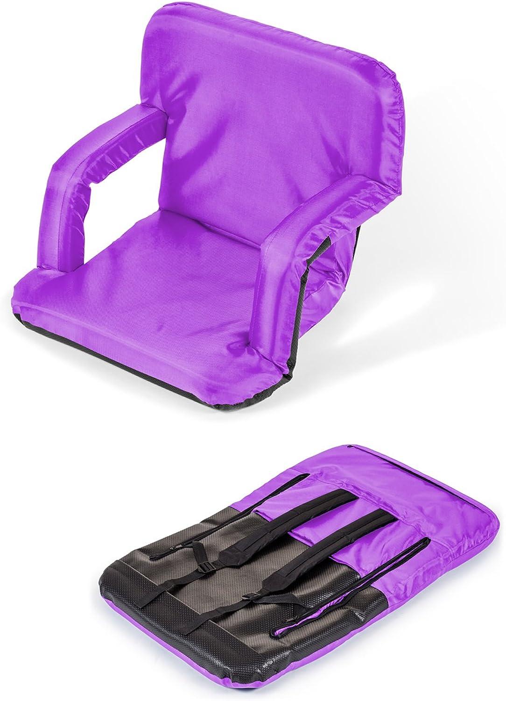 Trademark Innovations PICNIC-ARM-PURPLE Portable Multiuse Adjustable Recliner Stadium Seat, Purple