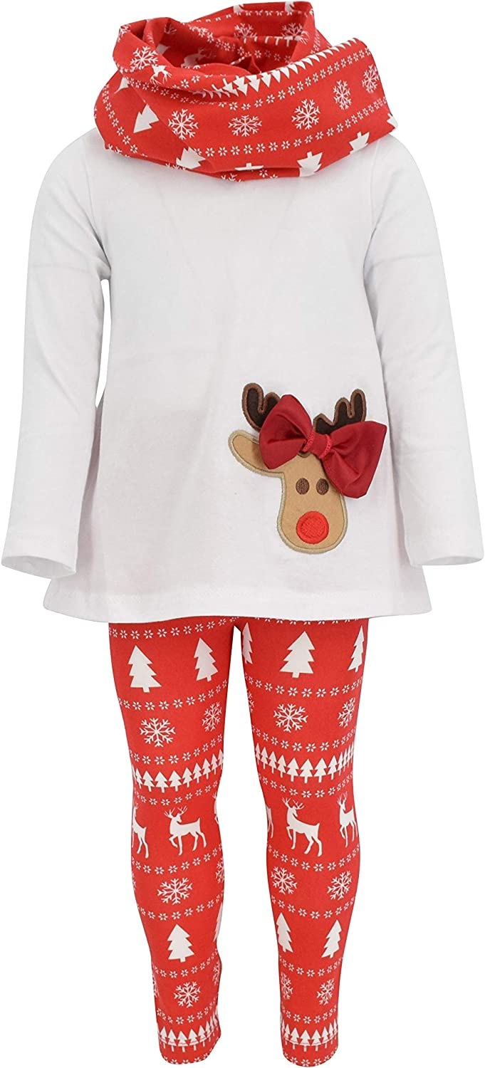 Unique Baby Girls 3 Piece Christmas Reindeer Bow Outfit with Scarf