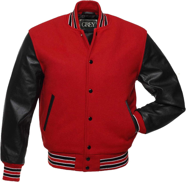 Varsity Jacket | Baseball | Letterman | Leather & Wool Jacket | College Jacket | Bomber Jacket (XL, Red-Black)