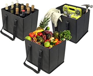 VENO 3 Packs Reusable Grocery Shopping Bags, Storage Boxes, Handy, Premium Quality, Heavy Duty Tote with Handles, Reinforced Bottom. Foldable, Collapsible, Made from Recycled Material