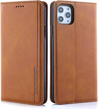 RuiJinHao iPhone X Flip Case Leather Cover Cell Phone Cover Extra-Protective Business Card Holders Kickstand One Card Slot Br