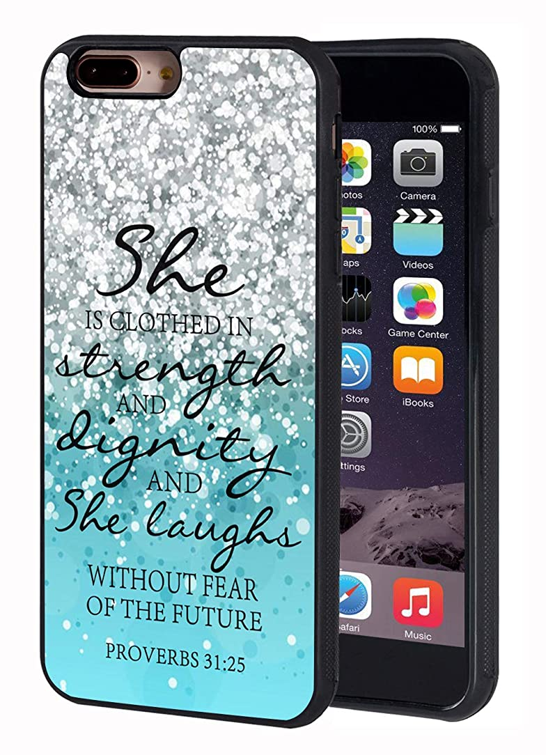 iPhone 7 Plus Case,iPhone 8 Plus Case,Blue Glitter Quotes Bible Verse Proverbs 31:25 Design Slim Impact Resistant Shock-Absorption Rubber Protective Case Cover for iPhone 7 Plus/iPhone 8 Plus 5.5 inch