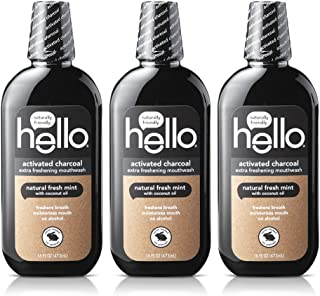 Hello Oral Care Activated Charcoal Extra Freshening Fluoride Free and Alcohol Free Mouthwash with Natural Fresh Mint and C...