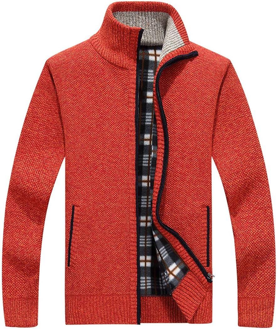 LOIUYBM Men's Sweaters Autumn Winter Warm Cashmere Wool Zipper Cardigan Sweaters,Casual Knitwear Sweatercoat 601 red red XXL