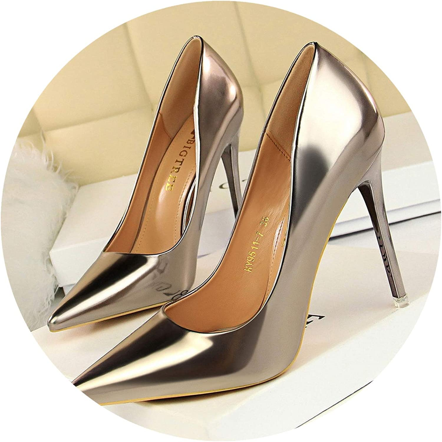 Wild Little Cat Patent Leather Thin Heels Office Women shoes Pumps High Heels shoes Pointed Toe Sexy shoes Shallow