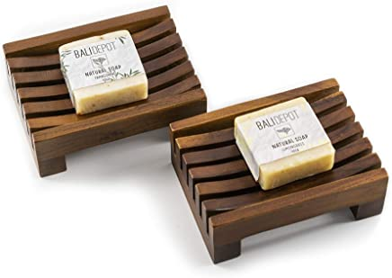 Teak Soap Dish Gift Set - Bundle of 2 Handcrafted Dishes and Natural Soap Bars - Handmade in Bali,  Stylish,  Nontoxic,  Recycled,  Soap Holder is Perfect for Shower,  Bathroom,  Kitchen,  Tub,  and Outdoors