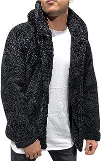 OMINA Sudadera con capucha para hombre con capucha para otoño e invierno, cálida chaqueta de forro polar con botones, lige...