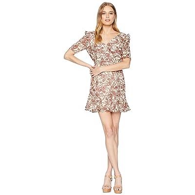BB Dakota Twirl Wind Printed Wrap Dress (Ivory) Women