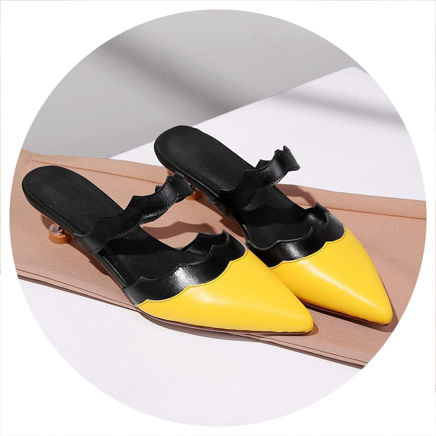 Candye Women Slippers Mules Elegant Pointed Toe Summer shoes Outdoor High Heels Slippers Black White Yellow