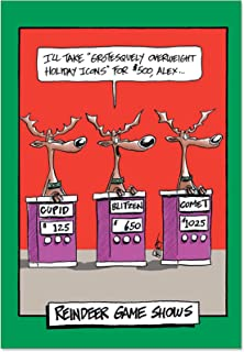 12 Boxed 'Reindeer Gameshow' Christmas Cards with Envelopes 4.63 x 6.75 inch, Funny Reindeer Merry Christmas Cards, Happy Holidays with Silly Santa's Reindeer Season's Greetings Cards B1193