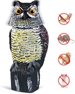Owl Decoy with Rotating Head, Garden Protector Sculpture for Birds, Mice, Squirrels, Rabbits (Black-New)