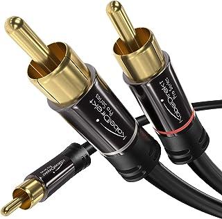 KabelDirekt - Cinch audio Y-kabel - 10m - (coax kabel geschikt voor versterkers, stereo-installaties, HiFi-systemen & and...