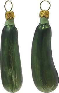 Pinnacle Peak Trading Company Green Zucchini Squash Polish Glass Christmas Ornament Fruit Vegetable Set of 2