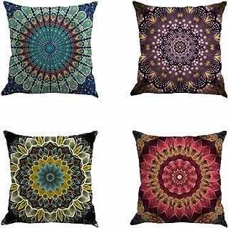 Jartinle Set of 4 Retro Floral Mandala Compass Medallion Bohemian Boho Style Summer Decor..
