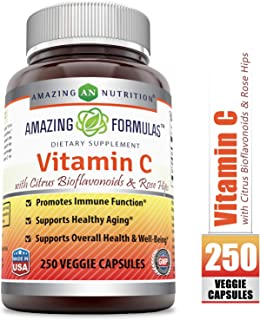 Amazing Formulas Vitamin C (Ascorbic Acid) - 1000mg with Rose Hips & Citrus Bioflavonoids, 250 Vegetarian Capsules (Non-GMO) - Promotes Immune Function - Supports Healthy Aging - Supports Overall