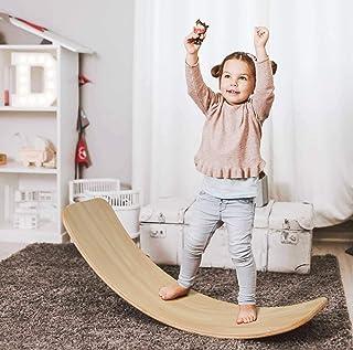 AOLIGE Wooden Wobble Balance Board for Kids Waldorf Multifunctional Natural Wood Rocker Curvy Yoga Board Children Toddlers...