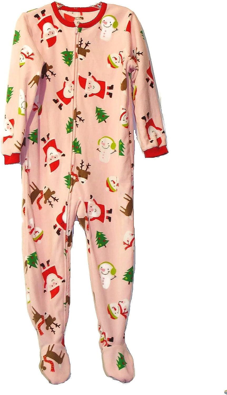 Carter's Girl's 4T Pink Christmas Santa, Reindeer Fleece Footed Pajama Sleeper